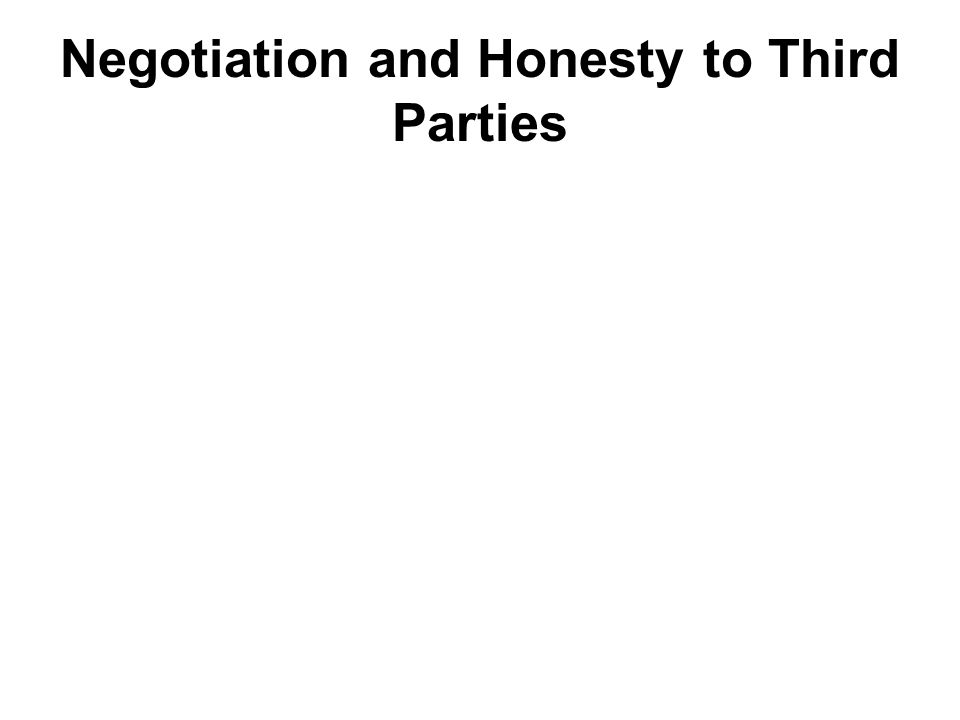 Negotiation and Honesty to Third Parties