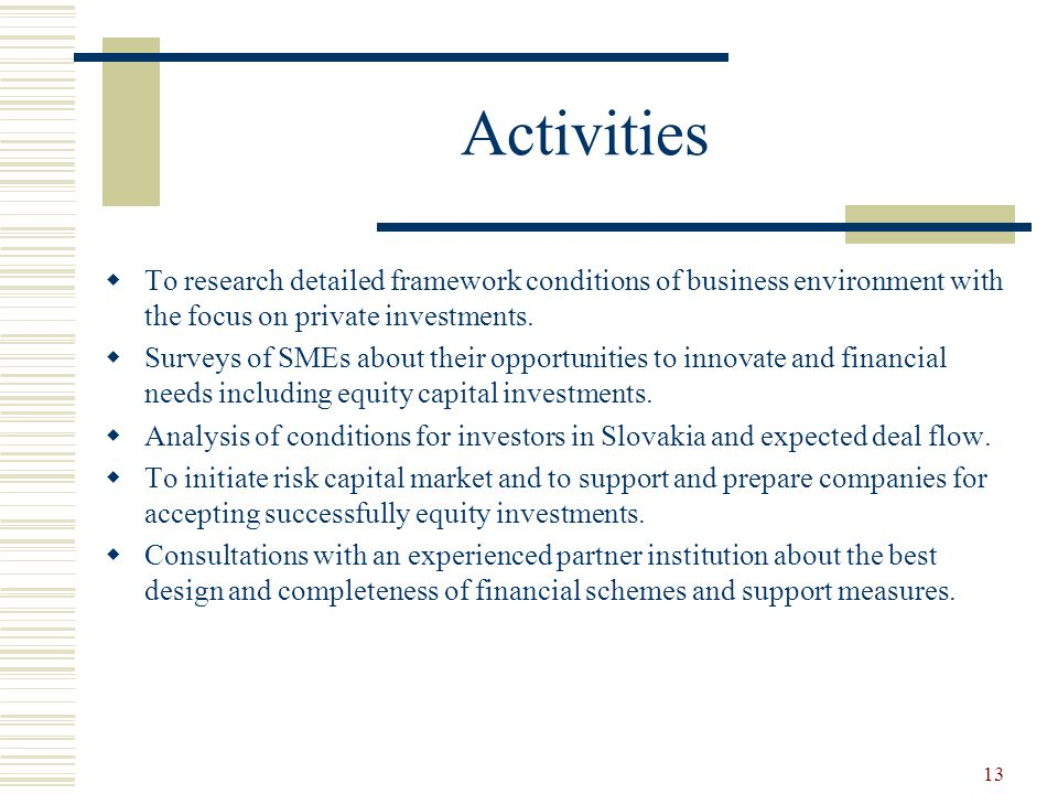 13 Activities  To research detailed framework conditions of business environment with the focus on private investments.