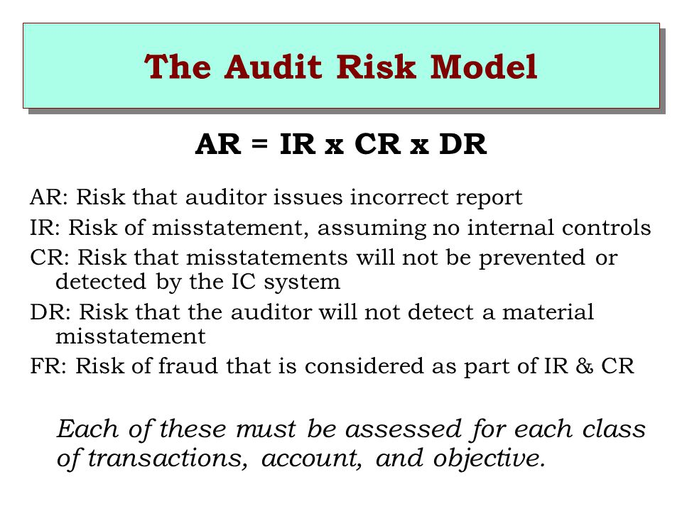 The Audit Risk Model AR = IR x CR x DR AR: Risk that auditor issues incorrect report IR: Risk of misstatement, assuming no internal controls CR: Risk that misstatements will not be prevented or detected by the IC system DR: Risk that the auditor will not detect a material misstatement FR: Risk of fraud that is considered as part of IR & CR Each of these must be assessed for each class of transactions, account, and objective.