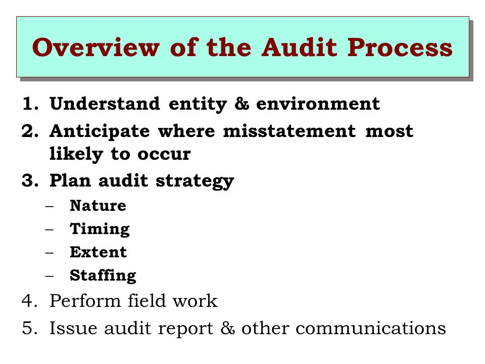 Overview of the Audit Process 1.Understand entity & environment 2.Anticipate where misstatement most likely to occur 3.Plan audit strategy – Nature – Timing – Extent – Staffing 4.Perform field work 5.Issue audit report & other communications