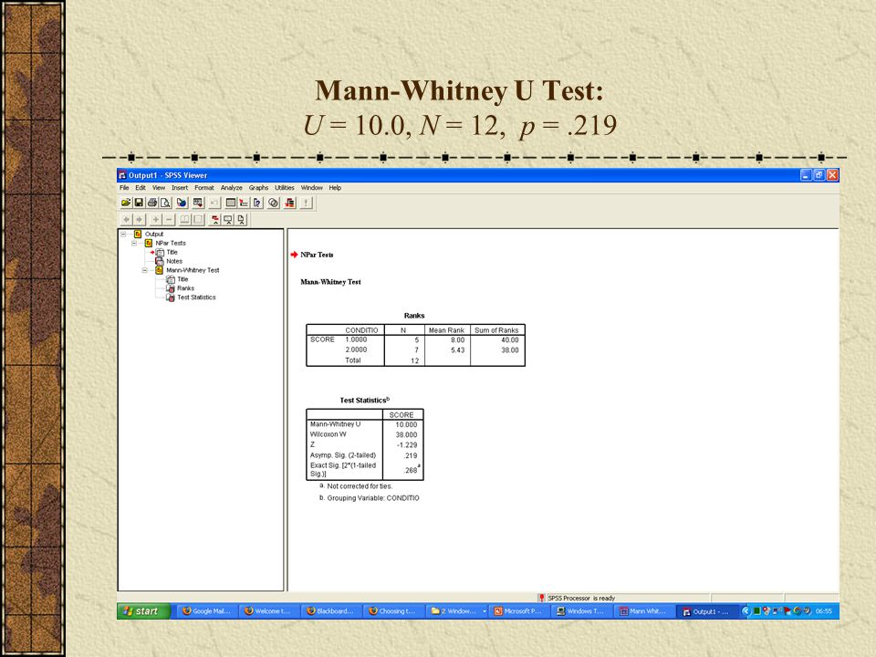 Mann-Whitney U Test: U = 10.0, N = 12, p =.219
