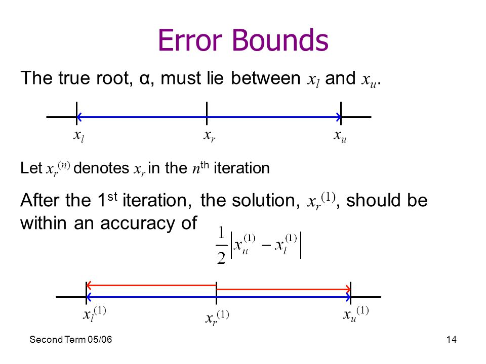 Second Term 05/0614 Error Bounds The true root, α, must lie between x l and x u.