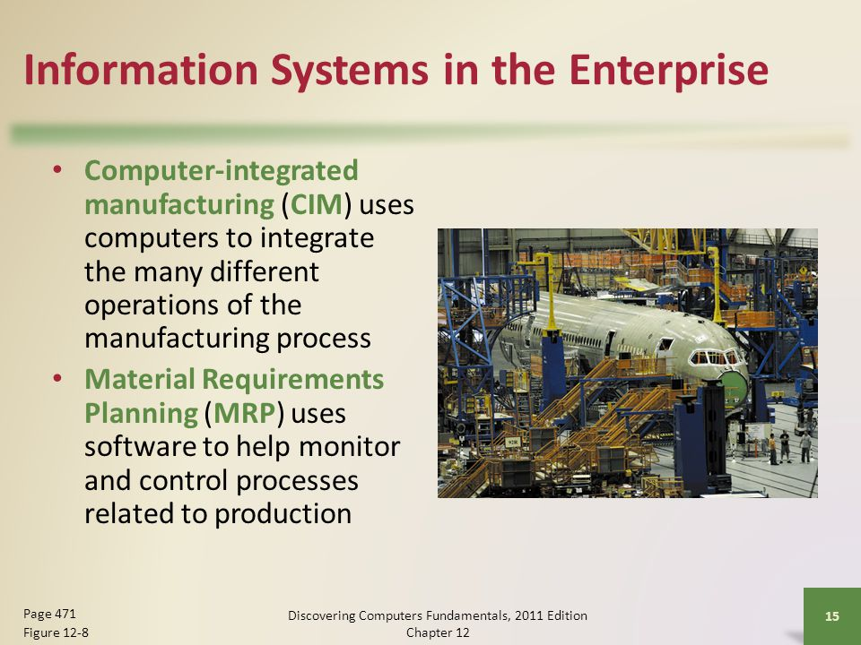 Information Systems in the Enterprise Computer-integrated manufacturing (CIM) uses computers to integrate the many different operations of the manufacturing process Material Requirements Planning (MRP) uses software to help monitor and control processes related to production Discovering Computers Fundamentals, 2011 Edition Chapter Page 471 Figure 12-8