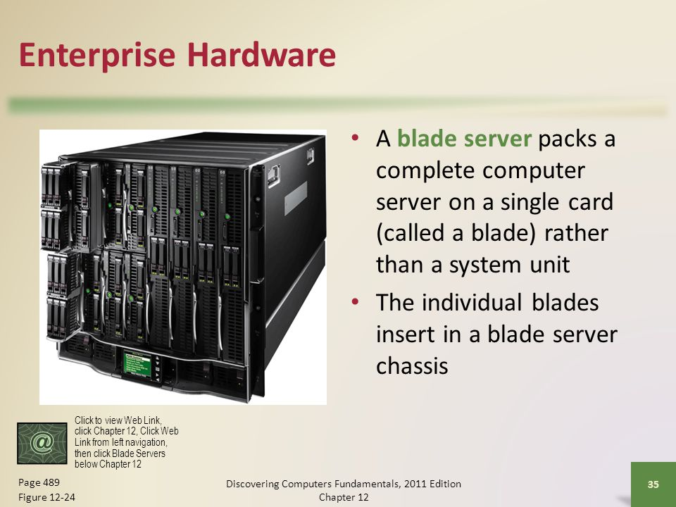 Enterprise Hardware A blade server packs a complete computer server on a single card (called a blade) rather than a system unit The individual blades insert in a blade server chassis Discovering Computers Fundamentals, 2011 Edition Chapter Page 489 Figure Click to view Web Link, click Chapter 12, Click Web Link from left navigation, then click Blade Servers below Chapter 12