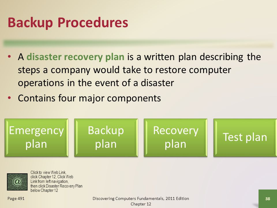 Backup Procedures A disaster recovery plan is a written plan describing the steps a company would take to restore computer operations in the event of a disaster Contains four major components Discovering Computers Fundamentals, 2011 Edition Chapter Page 491 Emergency plan Backup plan Recovery plan Test plan Click to view Web Link, click Chapter 12, Click Web Link from left navigation, then click Disaster Recovery Plan below Chapter 12