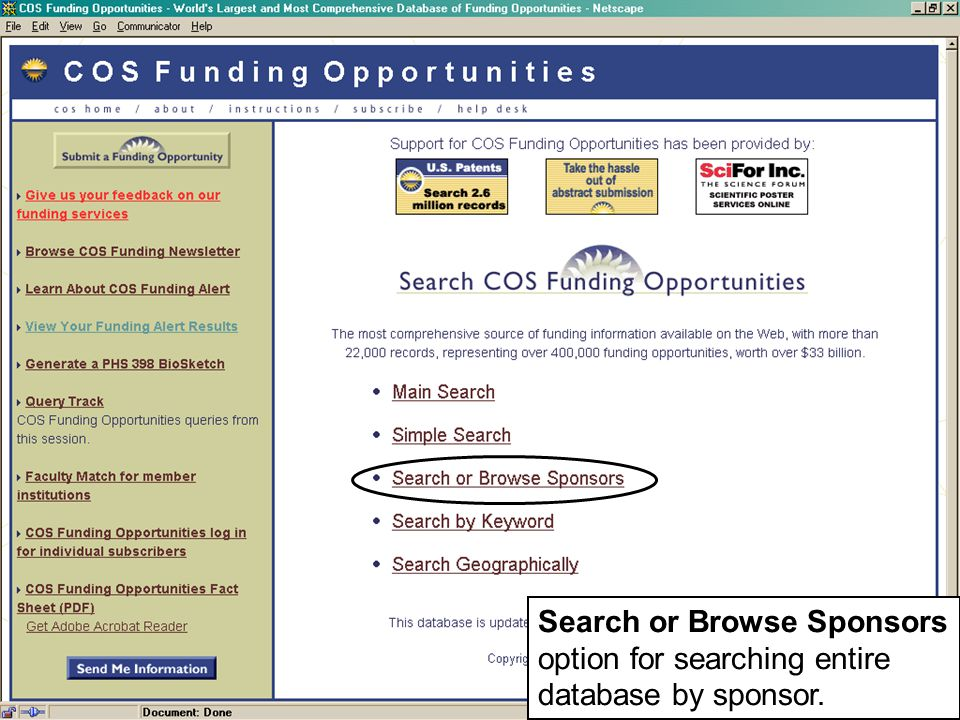 Search or Browse Sponsors option for searching entire database by sponsor.