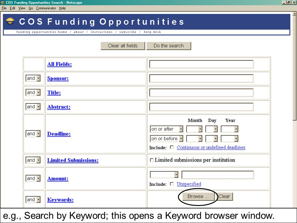 e.g., Search by Keyword; this opens a Keyword browser window.