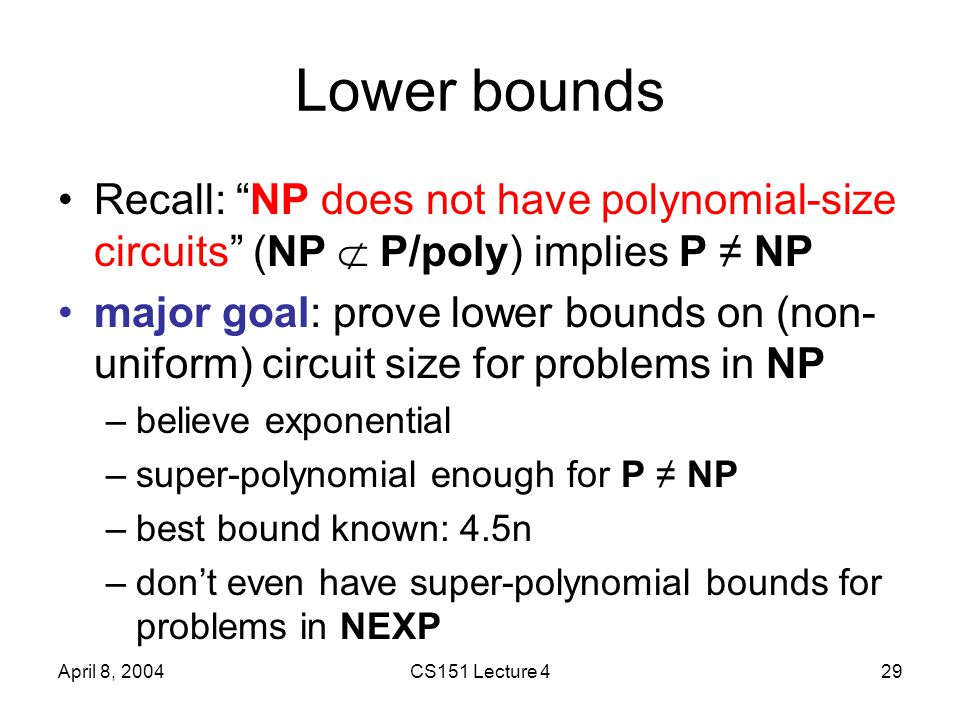 April 8, 2004CS151 Lecture 429 Lower bounds Recall: NP does not have polynomial-size circuits (NP  P/poly) implies P ≠ NP major goal: prove lower bounds on (non- uniform) circuit size for problems in NP –believe exponential –super-polynomial enough for P ≠ NP –best bound known: 4.5n –don't even have super-polynomial bounds for problems in NEXP