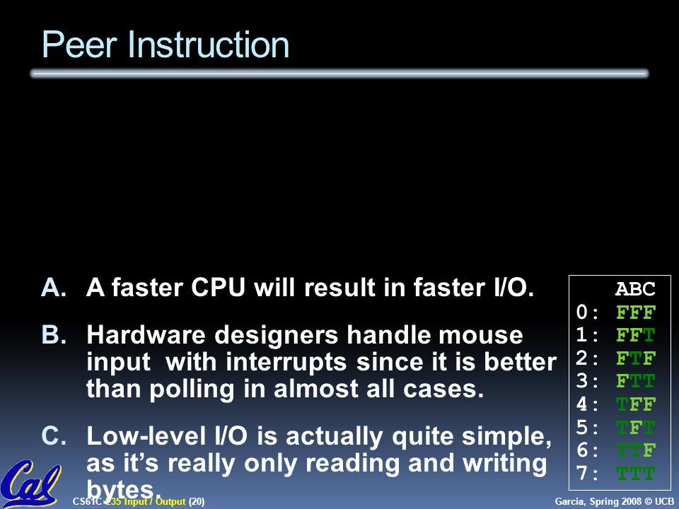CS61C L35 Input / Output (20) Garcia, Spring 2008 © UCB Peer Instruction A.