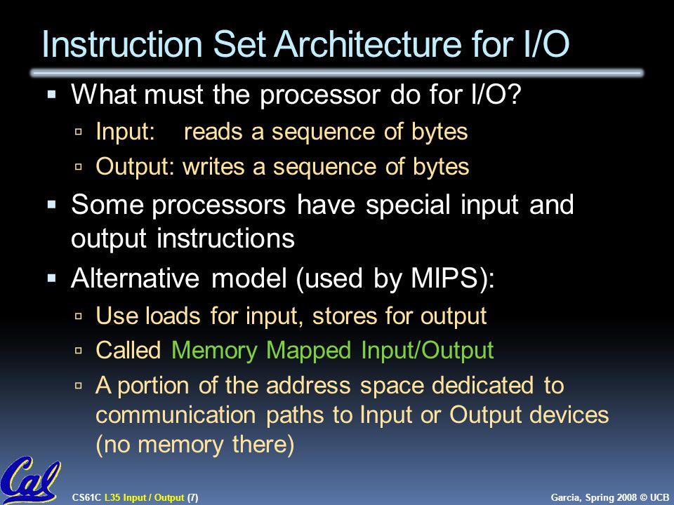 CS61C L35 Input / Output (7) Garcia, Spring 2008 © UCB Instruction Set Architecture for I/O  What must the processor do for I/O.