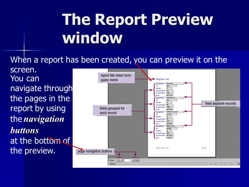 The Report Preview window When a report has been created, you can preview it on the screen.