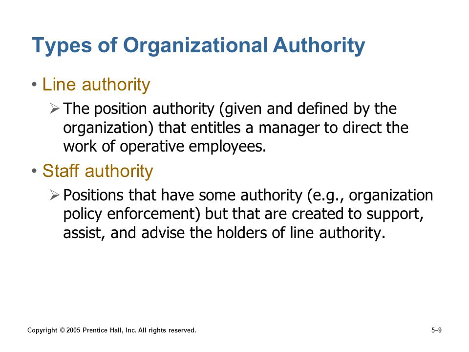Copyright © 2005 Prentice Hall, Inc. All rights reserved.5–9 Types of Organizational Authority Line authority  The position authority (given and defi