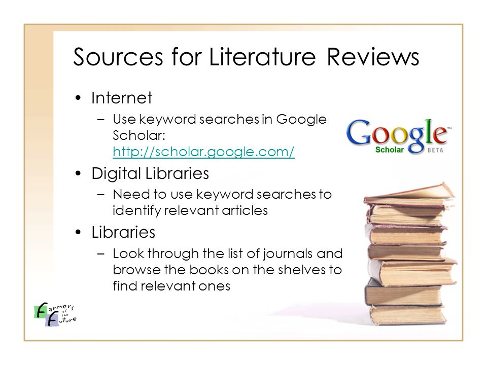 Sources and information (literature review), Information for
