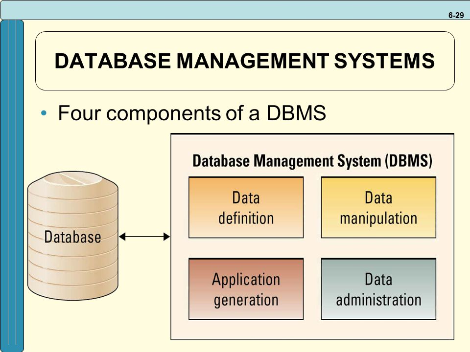 6-29 DATABASE MANAGEMENT SYSTEMS Four components of a DBMS