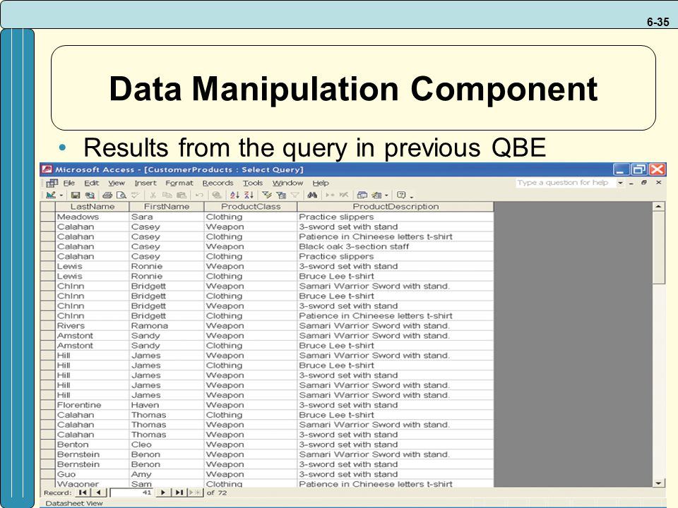 6-35 Data Manipulation Component Results from the query in previous QBE