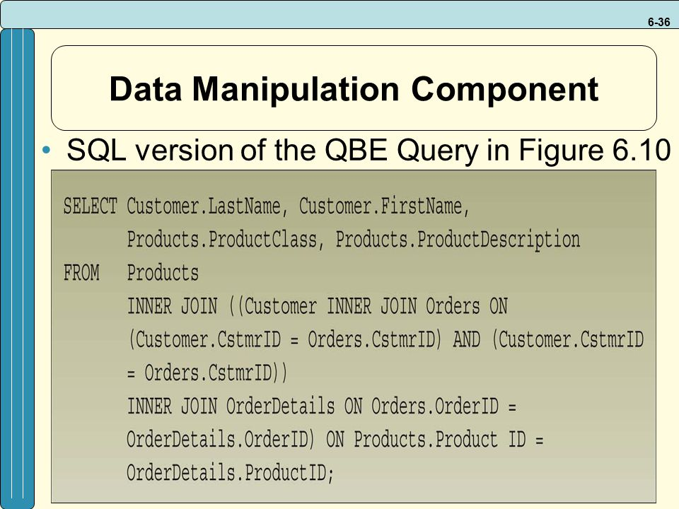 6-36 Data Manipulation Component SQL version of the QBE Query in Figure 6.10