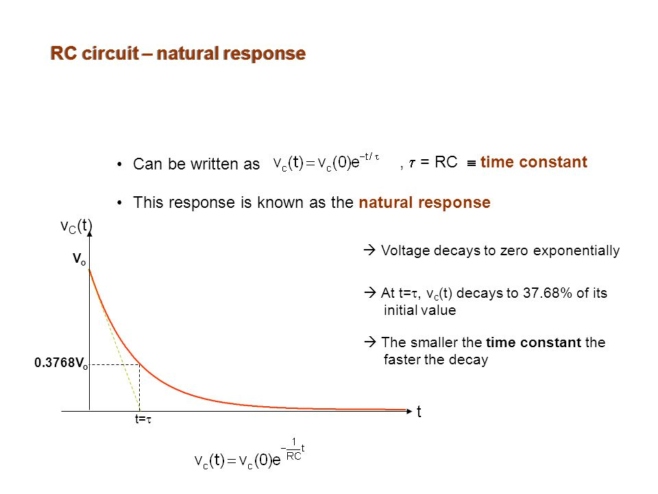 RC circuit – natural response Can be written as ,  = RC  time constant This response is known as the natural response  Voltage decays to zero exponentially  At t= , v c (t) decays to 37.68% of its initial value  The smaller the time constant the faster the decay VoVo t=  t v C (t) V o