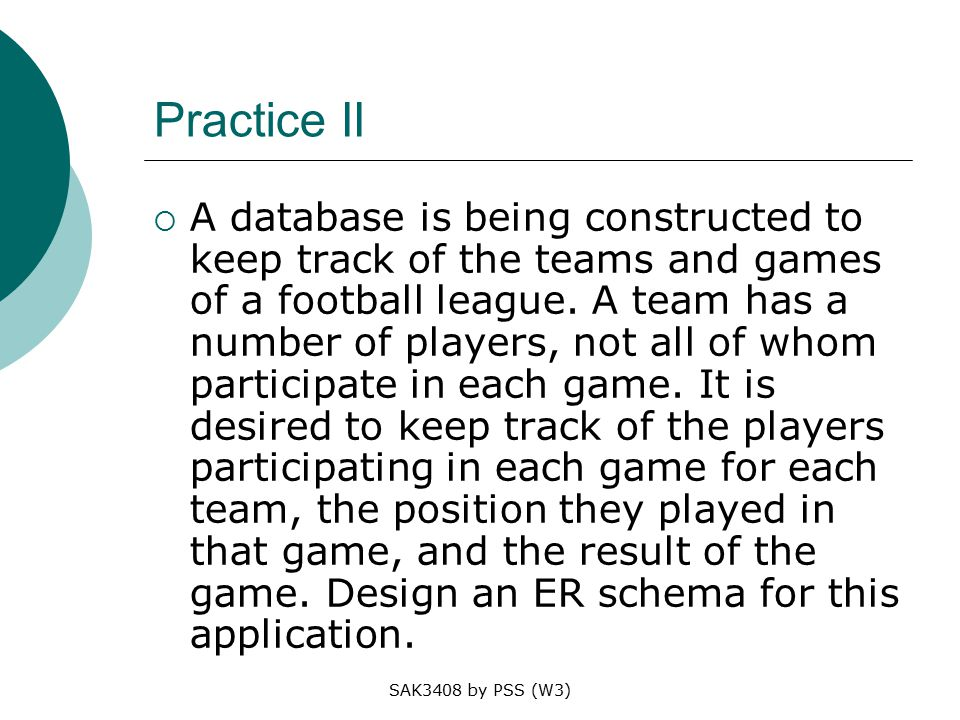 SAK3408 by PSS (W3) Practice II  A database is being constructed to keep track of the teams and games of a football league.
