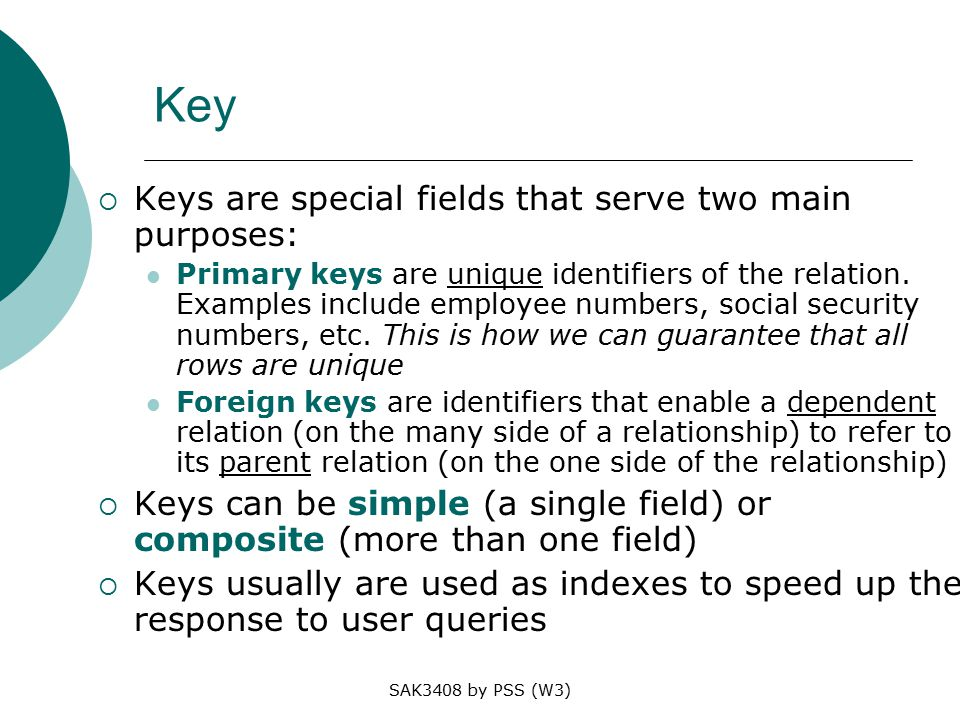SAK3408 by PSS (W3) Key  Keys are special fields that serve two main purposes: Primary keys are unique identifiers of the relation.