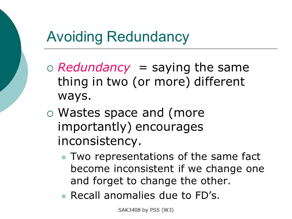 SAK3408 by PSS (W3) Avoiding Redundancy  Redundancy = saying the same thing in two (or more) different ways.