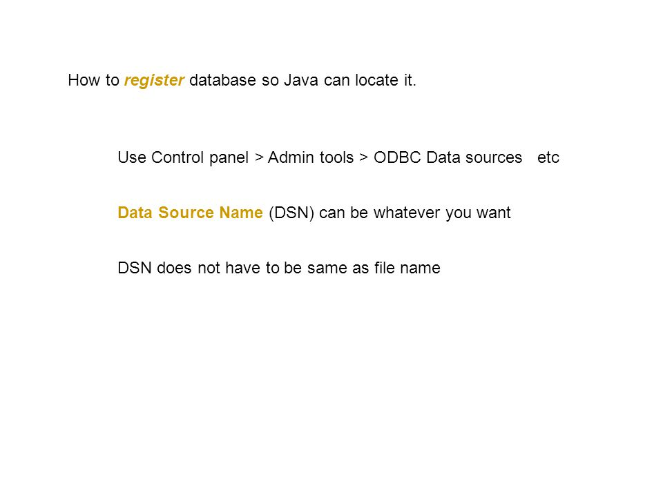 How to register database so Java can locate it.