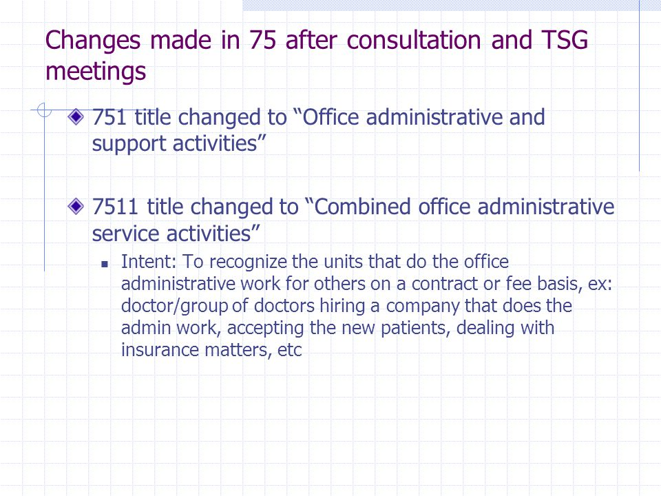 Changes made in 75 after consultation and TSG meetings 751 title changed to Office administrative and support activities 7511 title changed to Combined office administrative service activities Intent: To recognize the units that do the office administrative work for others on a contract or fee basis, ex: doctor/group of doctors hiring a company that does the admin work, accepting the new patients, dealing with insurance matters, etc