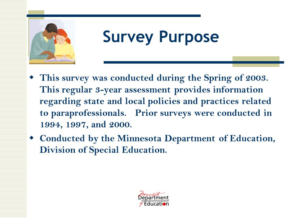 Survey Purpose  This survey was conducted during the Spring of 2003.