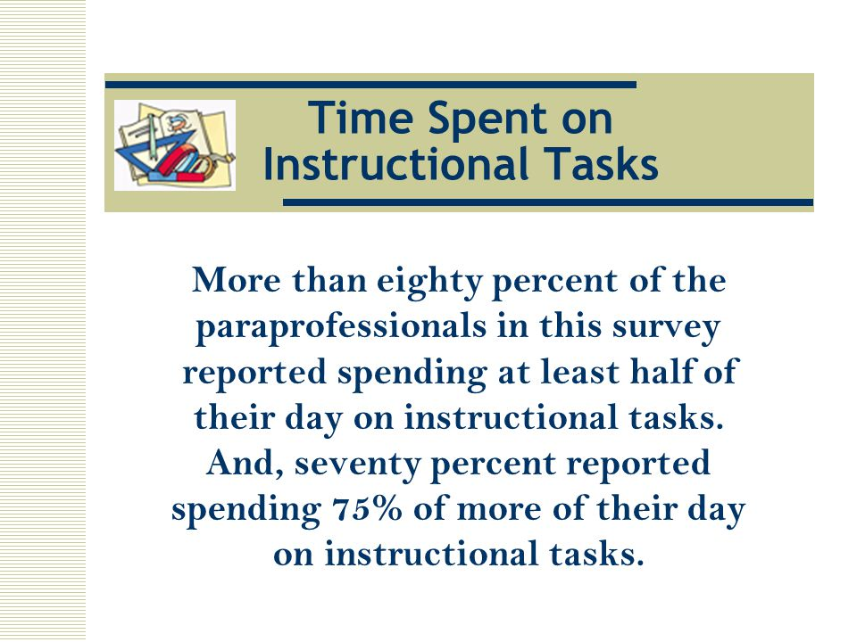 Time Spent on Instructional Tasks More than eighty percent of the paraprofessionals in this survey reported spending at least half of their day on instructional tasks.