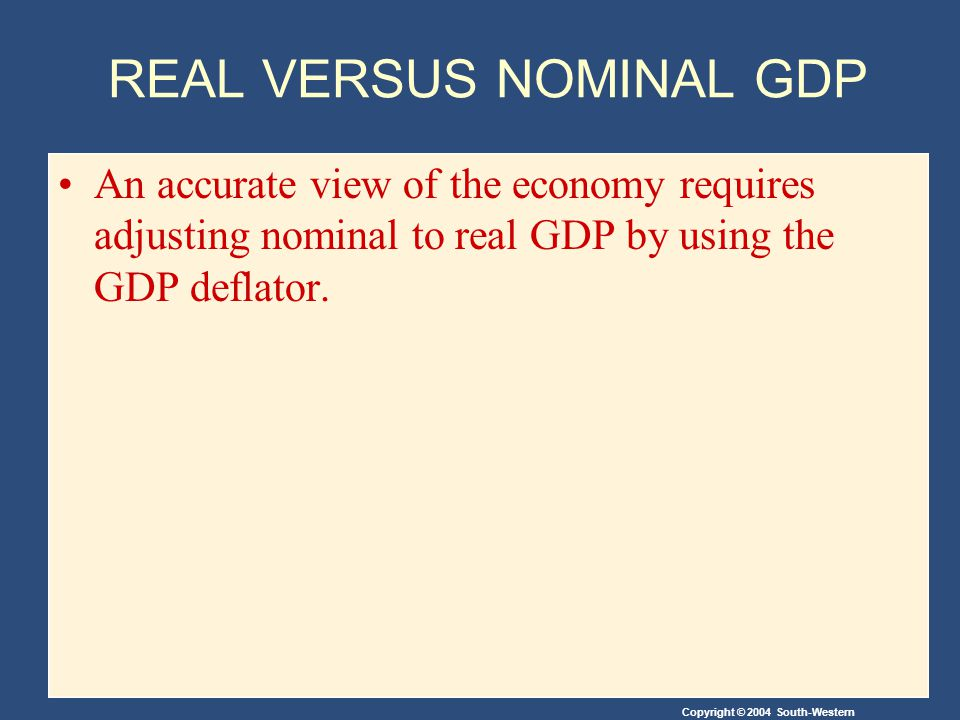 Copyright © 2004 South-Western REAL VERSUS NOMINAL GDP An accurate view of the economy requires adjusting nominal to real GDP by using the GDP deflator.