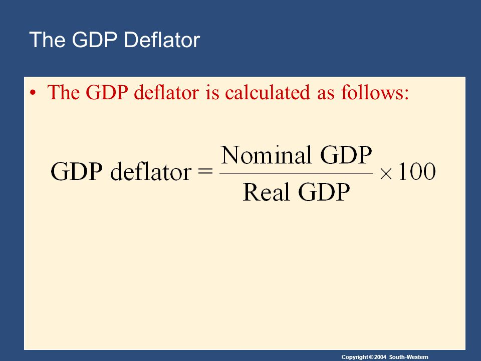 Copyright © 2004 South-Western The GDP Deflator The GDP deflator is calculated as follows: