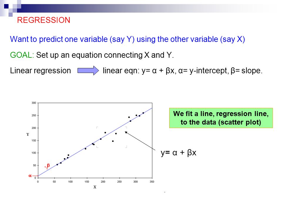 REGRESSION Want to predict one variable (say Y) using the other variable (say X) GOAL: Set up an equation connecting X and Y.