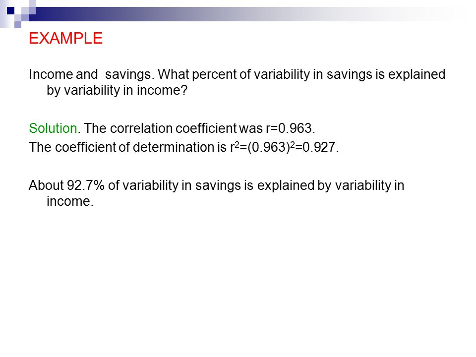 EXAMPLE Income and savings.