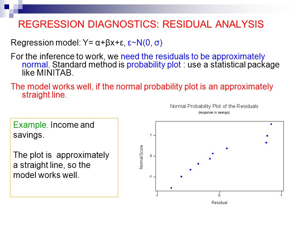 REGRESSION DIAGNOSTICS: RESIDUAL ANALYSIS Regression model: Y= α+βx+ε, ε~N(0, σ) For the inference to work, we need the residuals to be approximately normal.