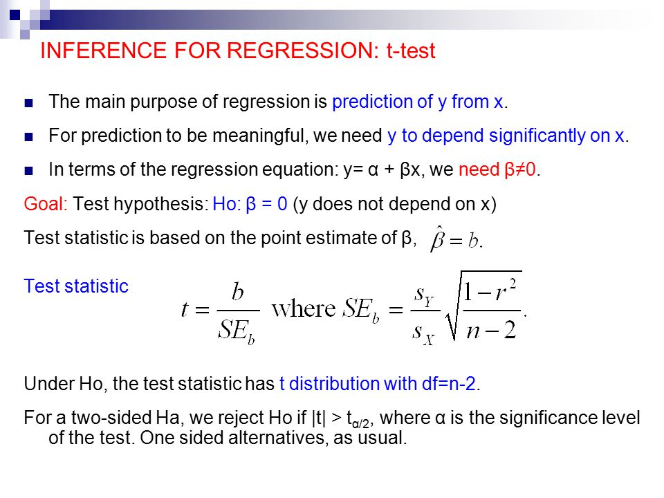 INFERENCE FOR REGRESSION: t-test The main purpose of regression is prediction of y from x.
