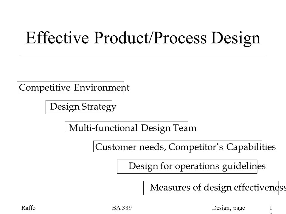 Design, pageRaffoBA Design Process Overview Product Planning Customer Requirements -> Customer Value Design Requirements Product Design Part/item characteristics Process Planning Process Operations Process Control Operations Requirements Production Design for Manufacturability