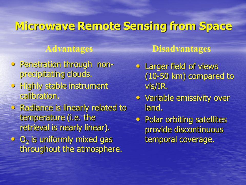 Microwave Remote Sensing from Space Penetration through non- precipitating clouds.