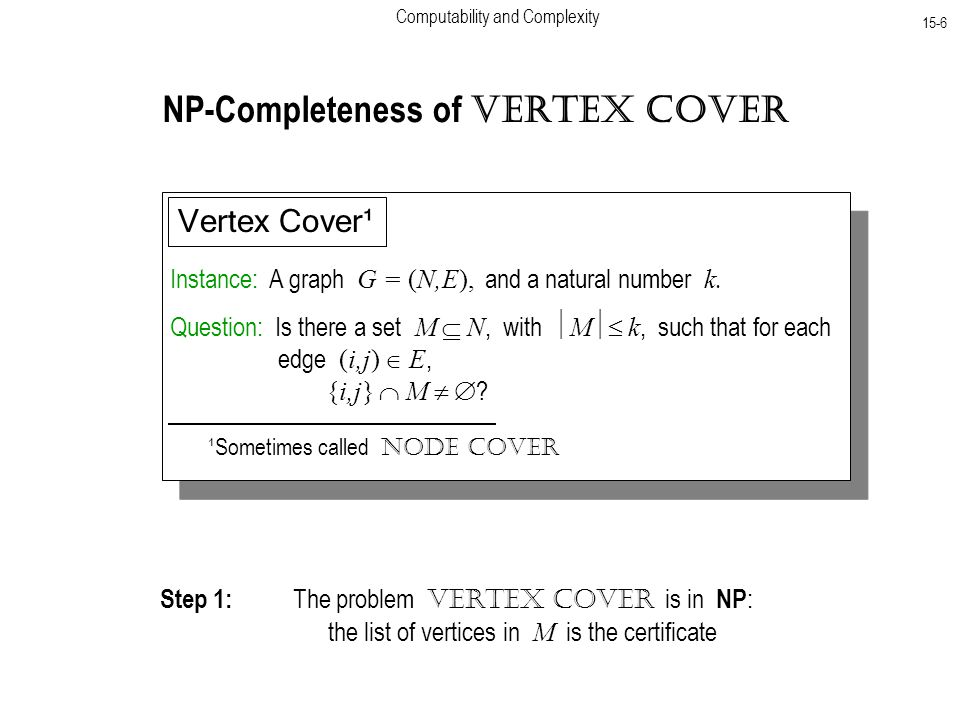 Computability and Complexity 15-6 NP-Completeness of Vertex Cover Instance: A graph G = (N,E), and a natural number k.