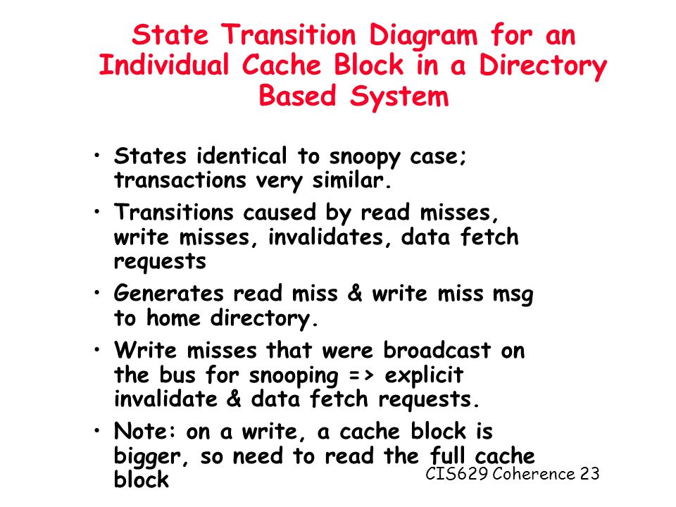 CIS629 Coherence 23 State Transition Diagram for an Individual Cache Block in a Directory Based System States identical to snoopy case; transactions very similar.