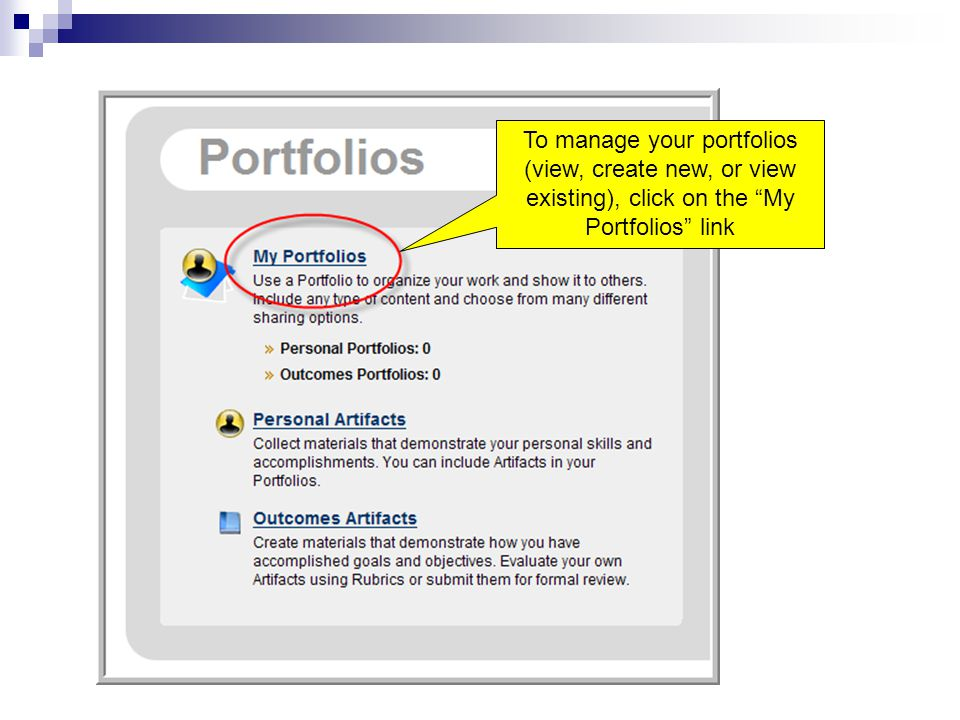 To manage your portfolios (view, create new, or view existing), click on the My Portfolios link