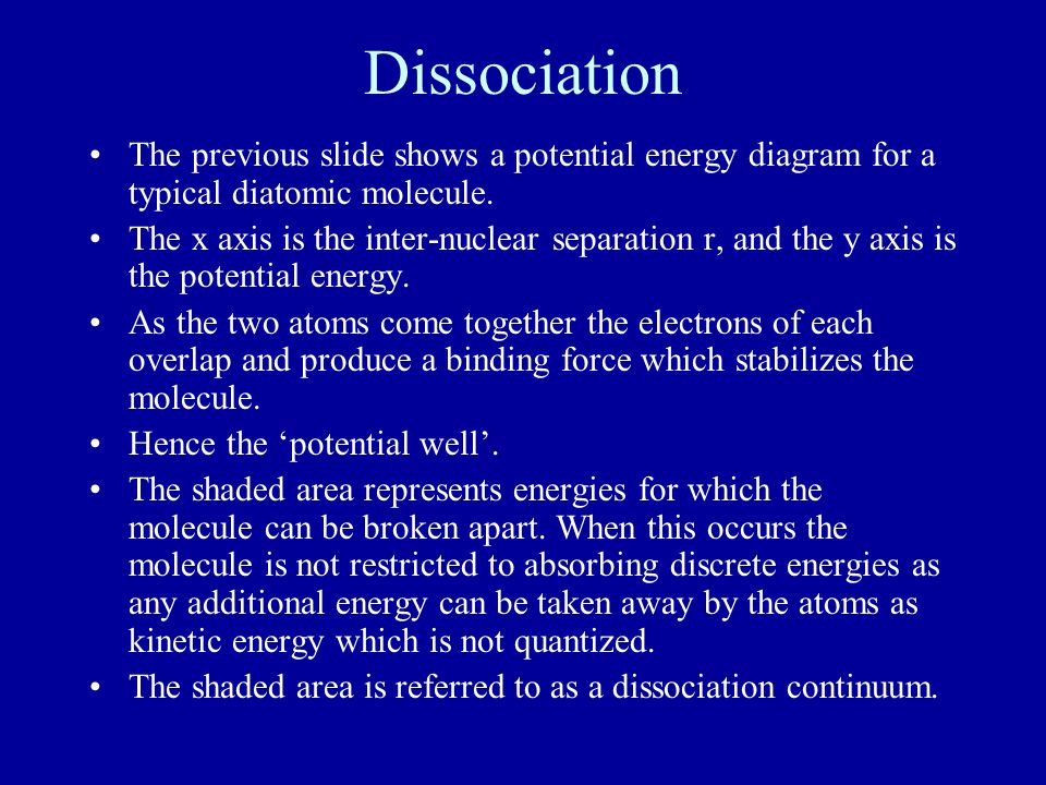 Dissociation The previous slide shows a potential energy diagram for a typical diatomic molecule.