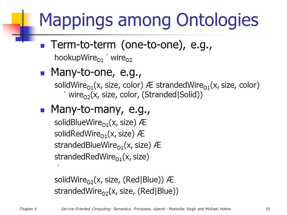 Chapter 615Service-Oriented Computing: Semantics, Processes, Agents - Munindar Singh and Michael Huhns Mappings among Ontologies Term-to-term (one-to-one), e.g., hookupWire O1 ´ wire O2 Many-to-one, e.g., solidWire O1 (x, size, color) Æ strandedWire O1 (x, size, color) ´ wire O2 (x, size, color, (Stranded|Solid)) Many-to-many, e.g., solidBlueWire O1 (x, size) Æ solidRedWire O1 (x, size) Æ strandedBlueWire O1 (x, size) Æ strandedRedWire O1 (x, size) ´ solidWire O2 (x, size, (Red|Blue)) Æ strandedWire O2 (x, size, (Red|Blue))