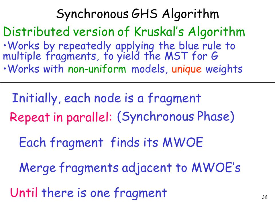 38 Synchronous GHS Algorithm Distributed version of Kruskal's Algorithm Works by repeatedly applying the blue rule to multiple fragments, to yield the MST for G Works with non-uniform models, unique weights Initially, each node is a fragment Each fragment finds its MWOE Merge fragments adjacent to MWOE's Repeat in parallel: Until there is one fragment (Synchronous Phase)
