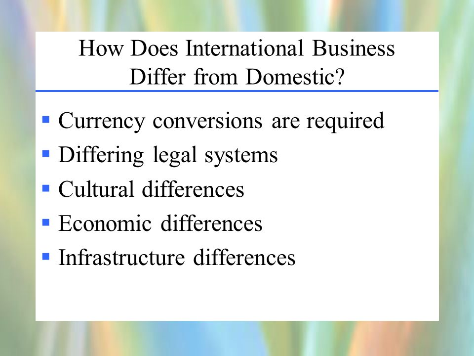 How Does International Business Differ from Domestic.