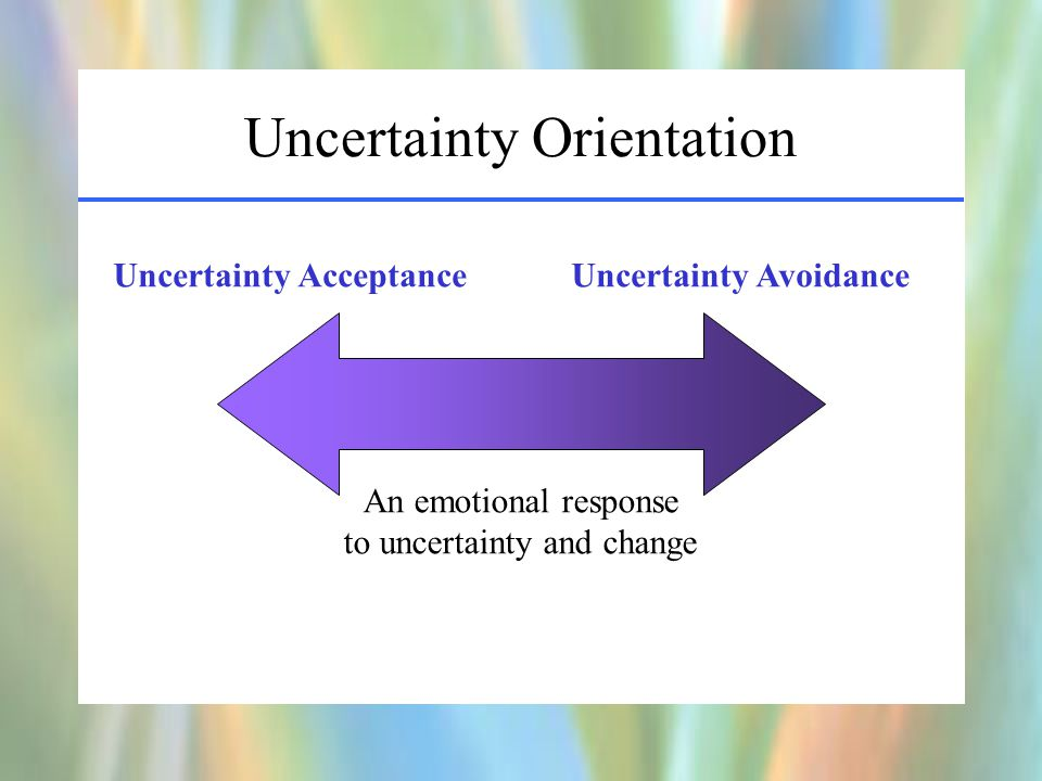 Uncertainty Orientation Uncertainty Acceptance Uncertainty Avoidance An emotional response to uncertainty and change
