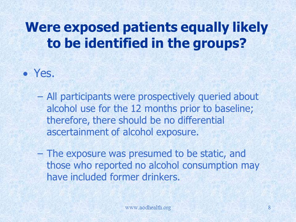 Were exposed patients equally likely to be identified in the groups.
