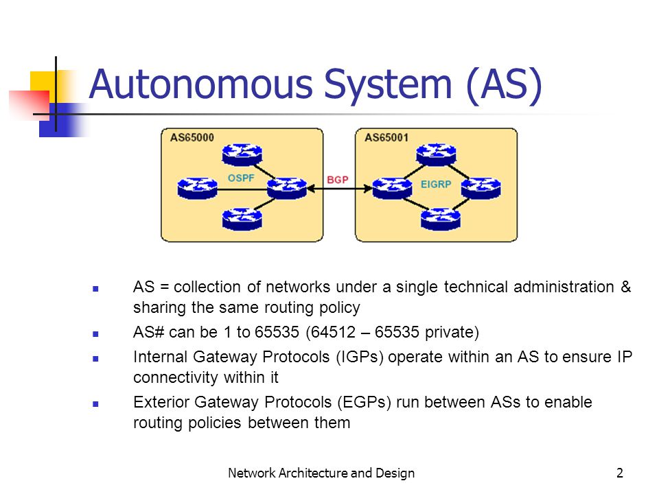 ... Exterior Gateway Protocols And Autonomous Systems Border Gateway  Protocol. 2 2 ...