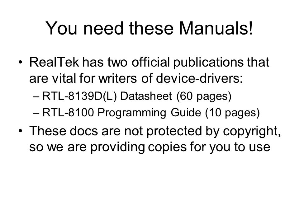 You need these Manuals.