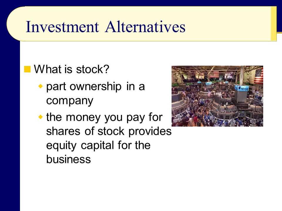 Investment Alternatives What is stock.