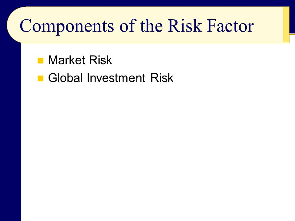 Components of the Risk Factor Market Risk Global Investment Risk