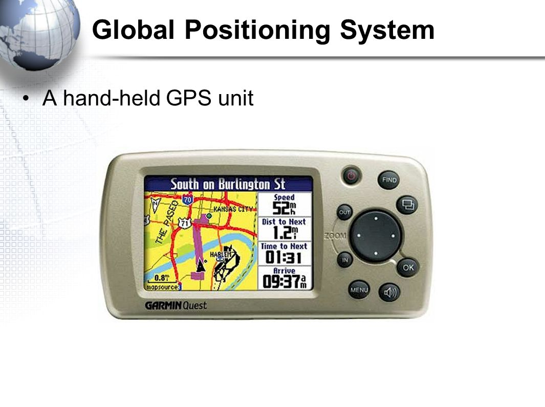 Global Positioning System A hand-held GPS unit